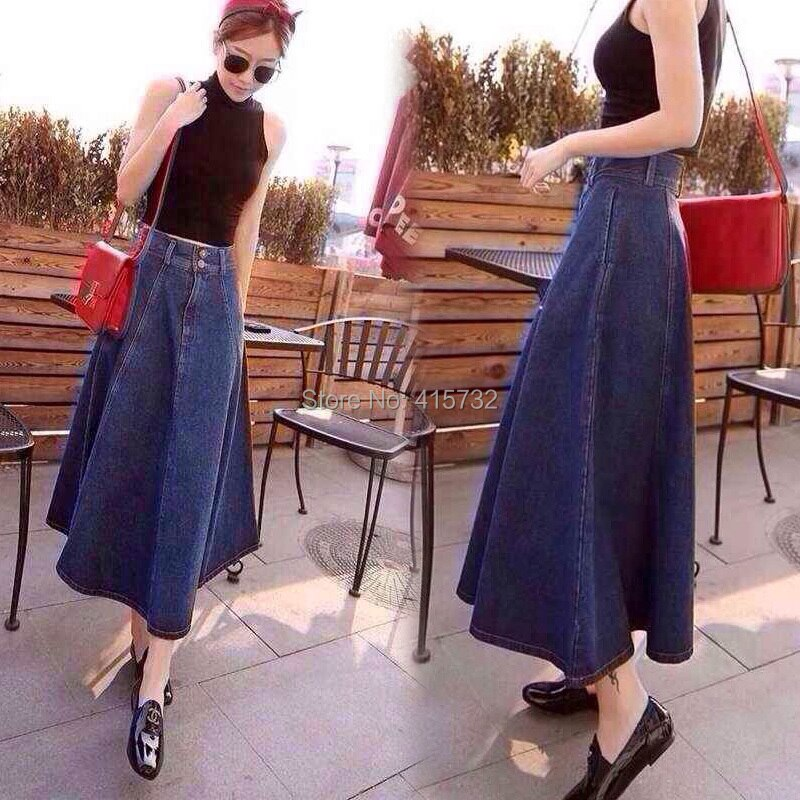 Free Shipping 2017 New Fashion Vintage High Waist Denim Jeans Skirt A-line Patchwork Pleated For Women With Big Hem