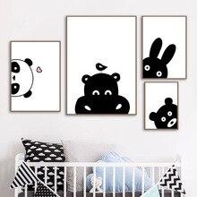 Hipo-ours lapin Panda mural   Toile dart, toile, affiches et imprimés nordiques, animaux noirs et blancs, photos murales, décor pour chambre denfants