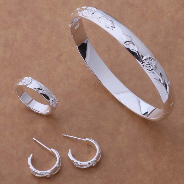 AS060 Heißer 925 Sterling Silber Schmuck Sets Ring 245 + Armreif 086 + Ohrring 218/bfcajwja Adcaiuja