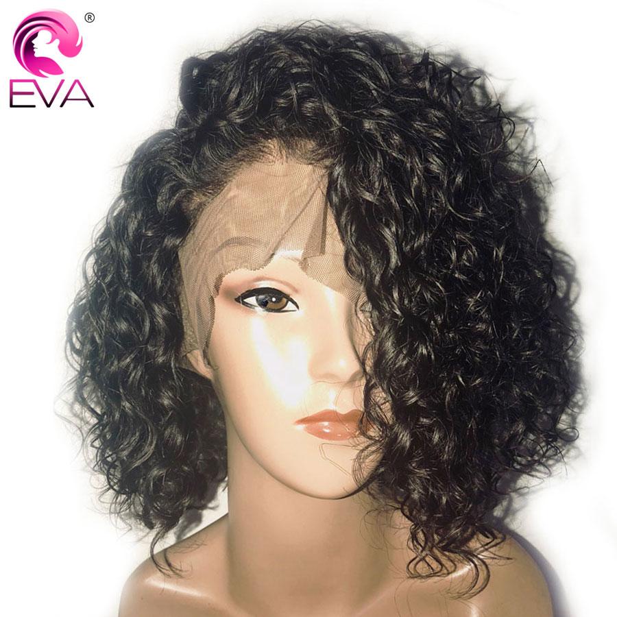 Eva włosy 180% gęstość kręcone 360 czołowa koronki peruki Pre oskubane z dzieckiem włosy brazylijski Remy ludzki włos krótki Bob koronki przodu peruki z włosów ludzkich