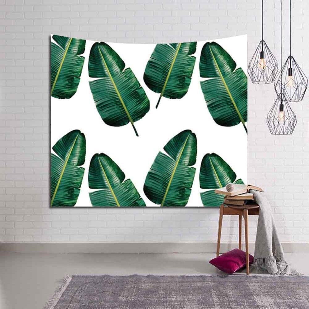 Patrón de planta Tropical de poliéster tapiz colgante de pared hojas arte bohemio alfombra Toalla de playa manta pícnic de Yoga Mat 3D