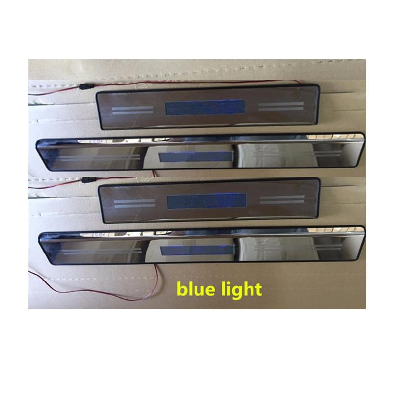 Para Mazda BT50 BT-50 2009, 2010, 2011, 2012, 2013, 2014, 2015, 2016 luz led azul cubierta de puerta de coche placa fuera umbral pedal 4 Uds