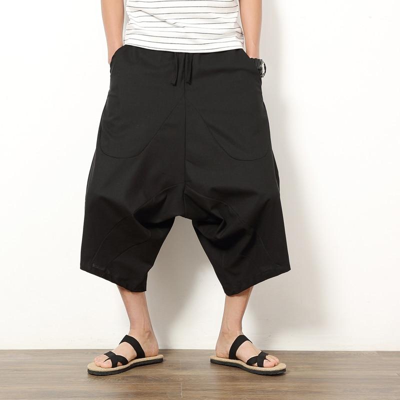 Maxi 5XL hombres de algodón de lino suelta pantalones Harem con cordones de talla grande de los hombres de pierna ancha Hip-hop Harem holgado Hippie pantalones de estilo Vintage