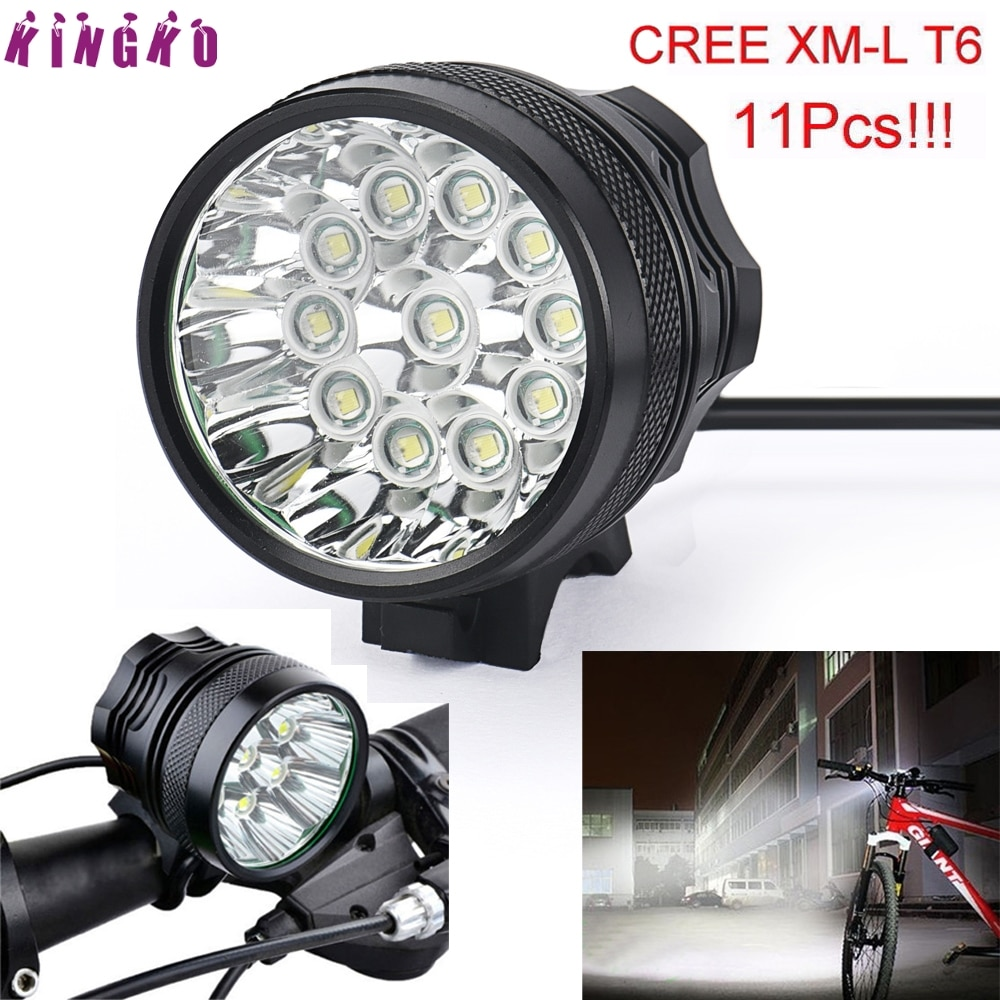 Alta calidad 28000LM 11 x XM-L T6 LED 8x18650 Luz de bicicleta lámpara impermeable