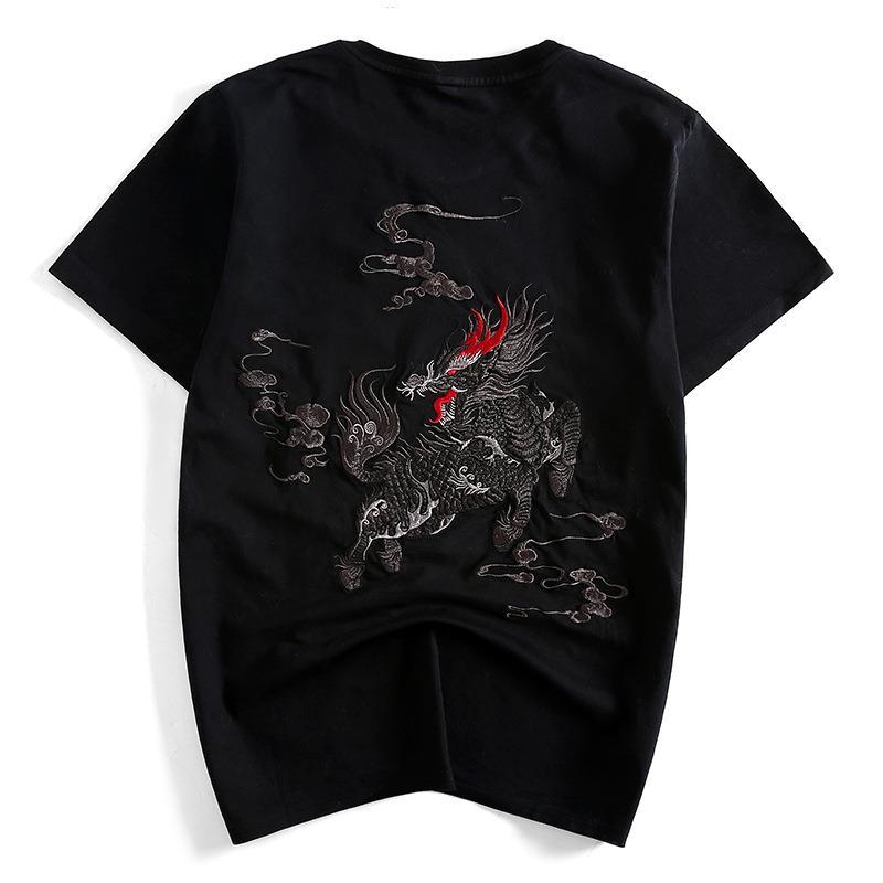 """Estilo japonês roupas bordados """"animal chinês"""" camisa masculina t-shirts para homem camiseta roupas de algodão"""