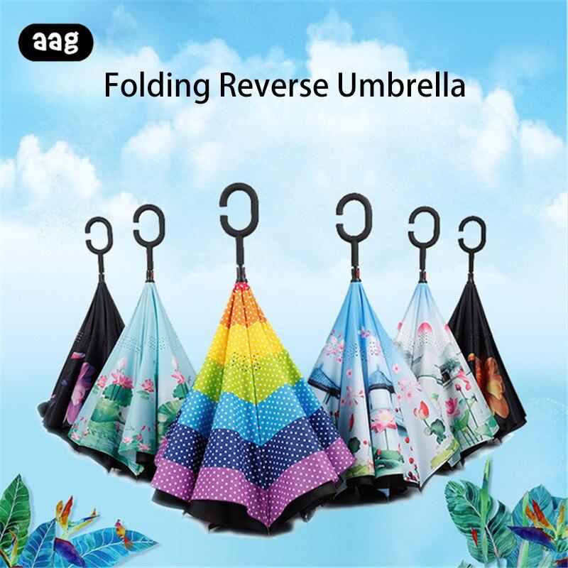 Guarda-chuva invertido de dupla camada dobrável guarda-chuva invertido guarda-chuva anti-uv guarda-sol c-gancho à prova de vento homem