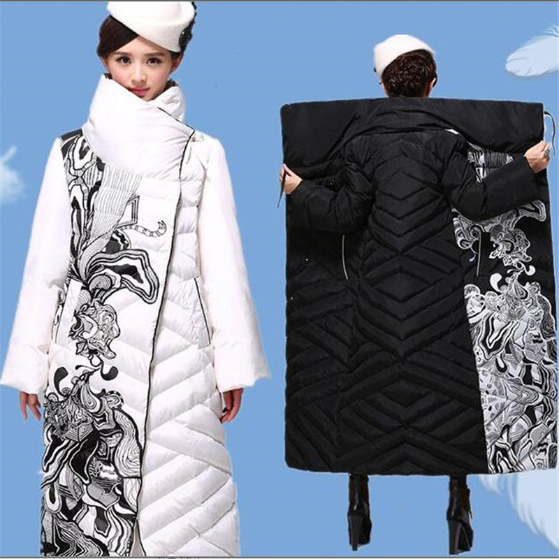 2018 Parka New high quality winter long coat women ethnic fashion x-long outerwear thick floral print duck down coat women 506