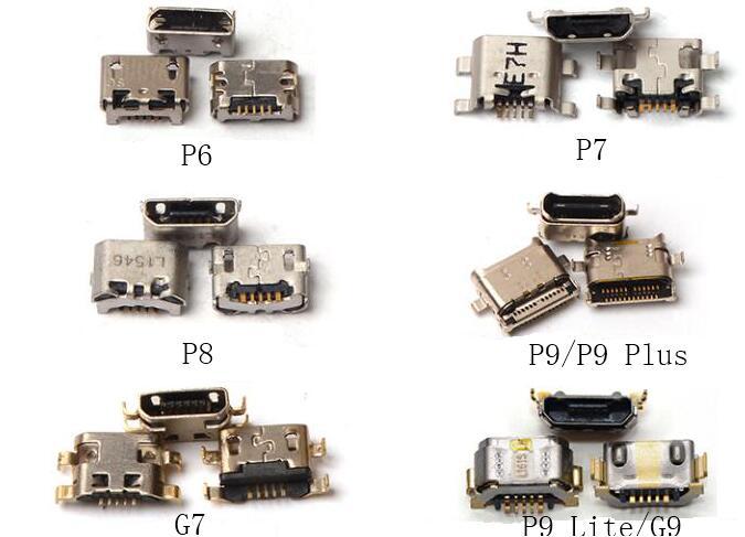 Conector de carregamento usb, para huawei p6 p7 p8 p9 p9plus g7 p10plus