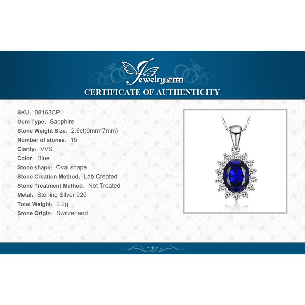Купить с кэшбэком JewelryPalace Created Sapphire Pendant Necklace 925 Sterling Silver Gemstones Choker Statement Necklace Women No Chain
