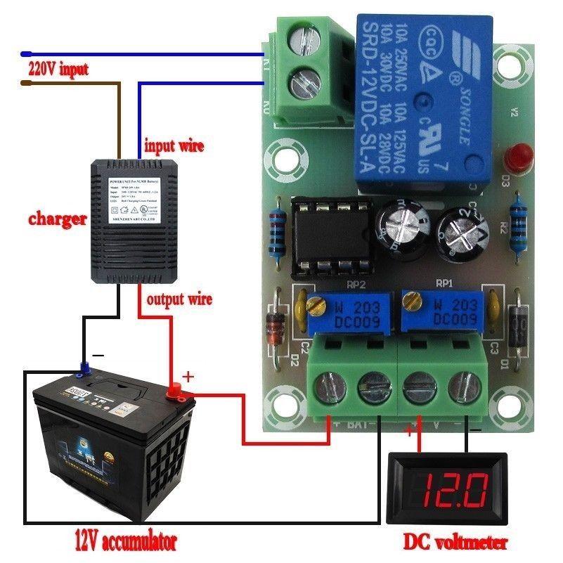 DYKB DC 12V, placa de Control de potencia, cargador de batería, carga de batería, módulo de control de sobredisparo de apagado completo