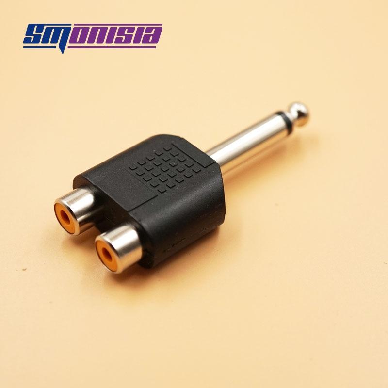 Smonisia 10pcs 6.5mm Mono Male Plug to 2 RCA Female jack Audio Plugs Socket Converter Adapter Connector For Microphone