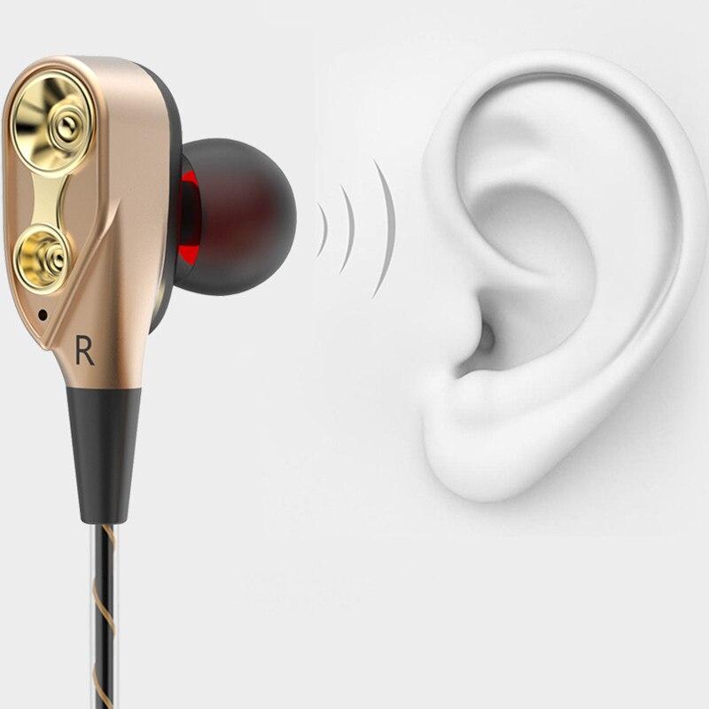 Anel de Ação Fones de Ouvido de Alta Qualidade de Alta Qijiagu Pces In-ear Dupla Esporte – Jogos Música Qualidade 10