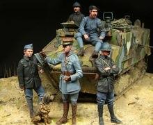 [Tuskmodel] 1 35 resina Kit de figuras en miniatura WW1 francés Tank Crewman gran conjunto 5 cifras