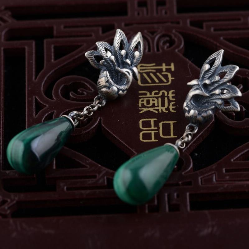 FNJ 925 Sterling Silver Earring Natural Malachite Phoenix Peony Drop Earrings for Women S925 Silver boucle d'oreille