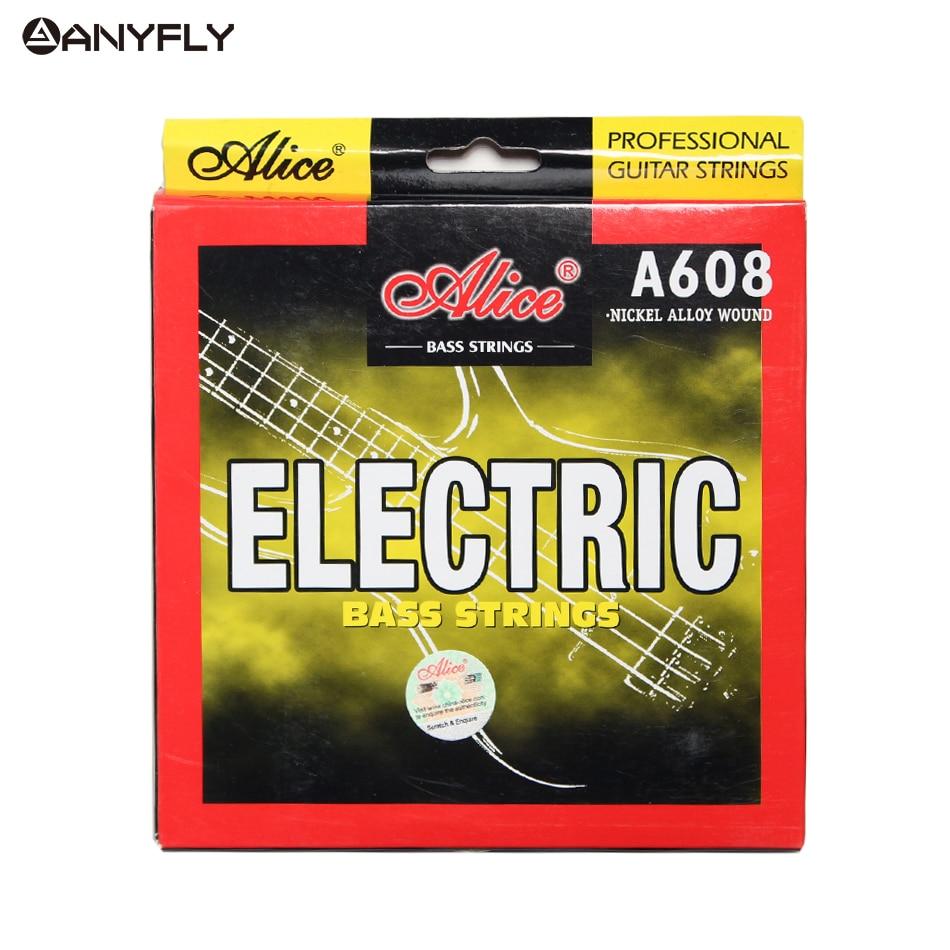 Электрическая басовая струна Alice A608, набор 4 струн, шестигранный сердечник, никелевый сплав, M-L на выбор