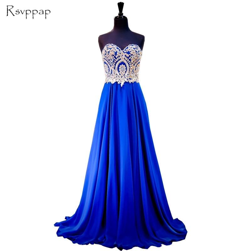 Long Women Evening Dress 2020 Gorgeous A-line Sweetheart Gold Lace Floor Length Royal Blue Chiffon Formal Evening Gowns