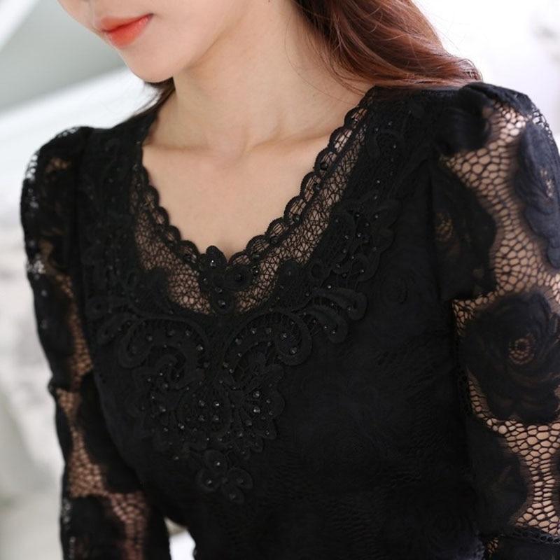 6XL ажурная кружевная блузка элегантная рубашка женские топы крючком с длинным рукавом Вышивка Пэчворк женские блузки топы белые DF2753
