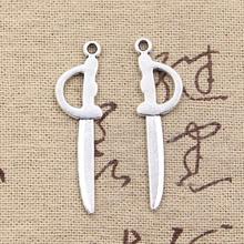 30 sztuk Charms miecz ogrodzenia 39x10mm Antique srebrny kolor wisiorki naszyjnik diy rzemiosło dokonywanie ustalenia Handmade biżuteria tybetańska