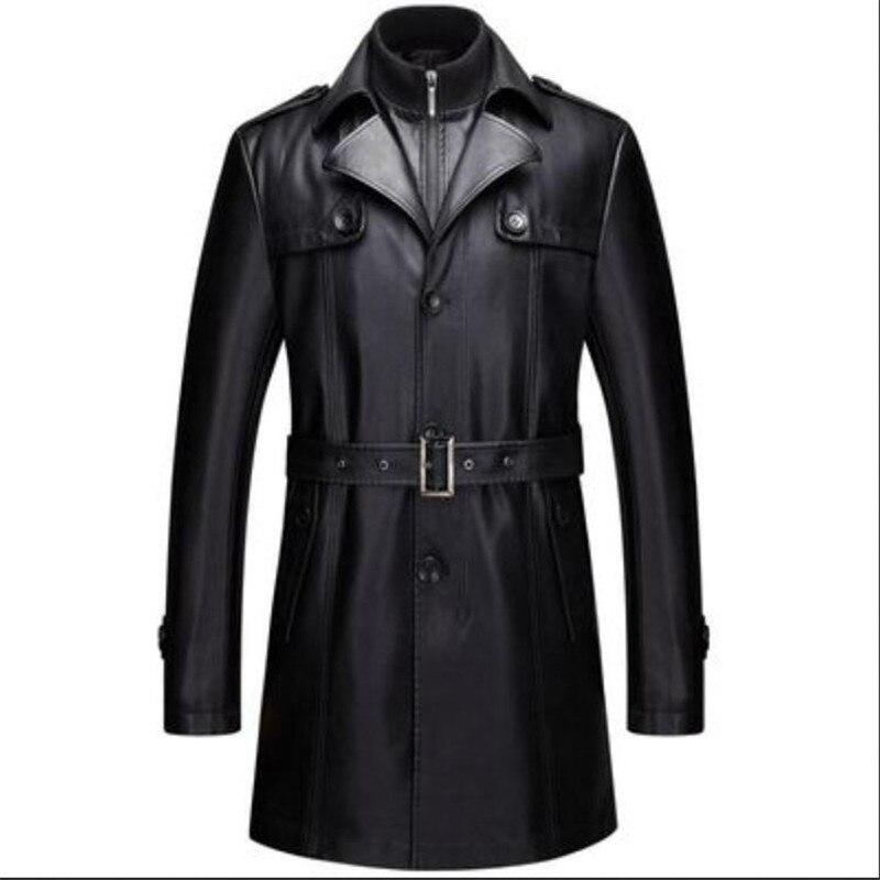 سترة جلدية للرجال, سترة جلدية للرجال سترة رجالية طويلة غير رسمية ملابس جلد صناعي معطف مخملي 5XL