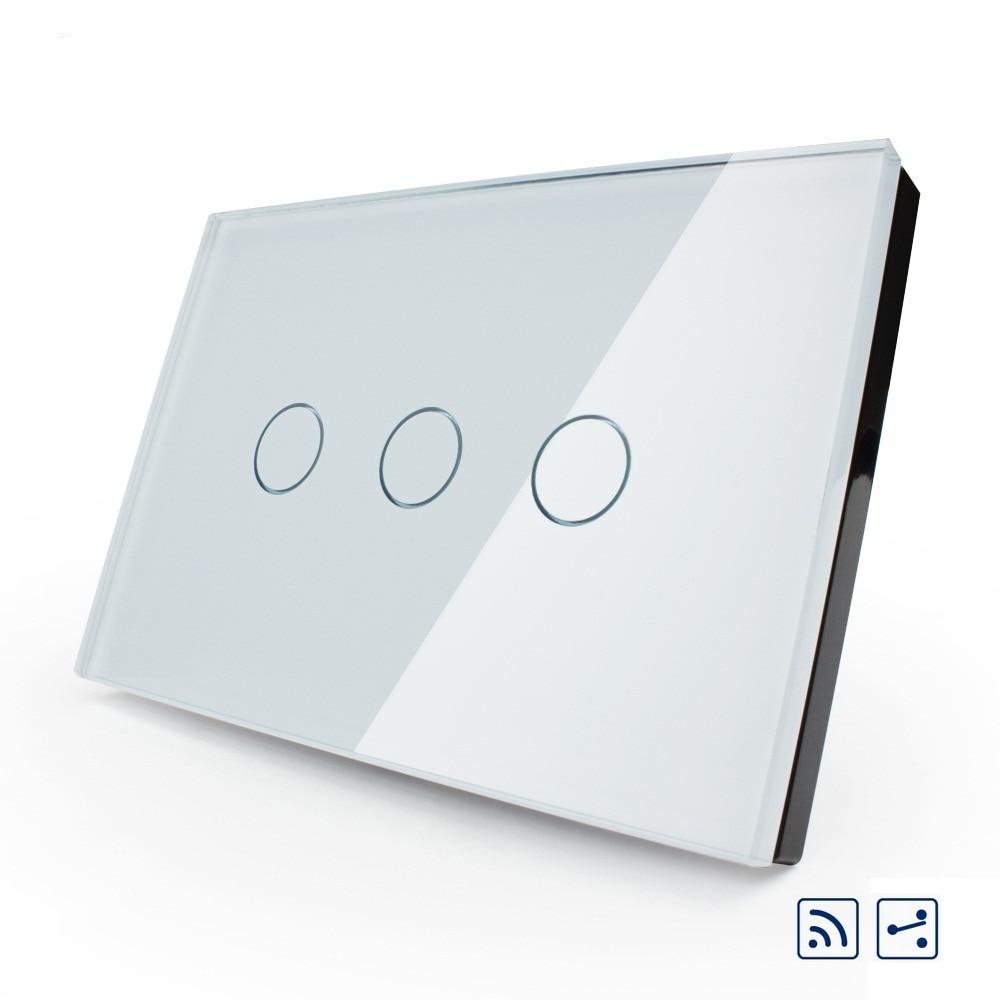 Interruptor de pared inteligente Livolo, estándar estadounidense/australiano, interruptor de luz táctil remoto de 2 vías de 3 bandas, Panel de cristal, indicador LED