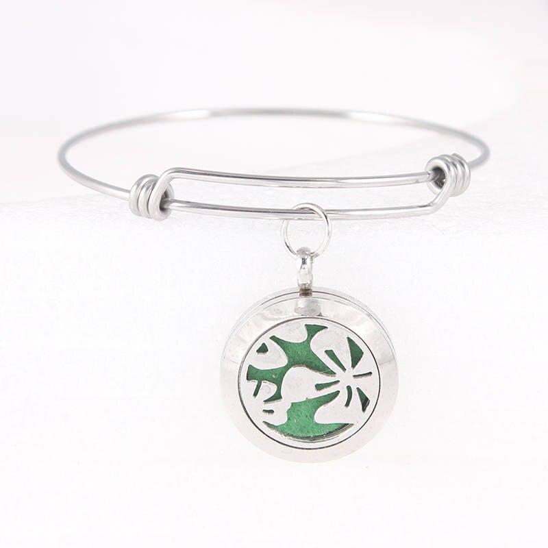 25mm Leaf Perfume Locket Bracelet Stainless Steel Diffuser Locket Expandable Bangle Essential Oil Diffuser Bracelets For Women