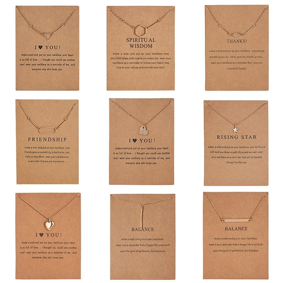Moda collar I Love You Heart estrellas arco cuadrado geométrico círculo collares Vintage COLLAR COLGANTE encanto mujeres regalo para Amiga