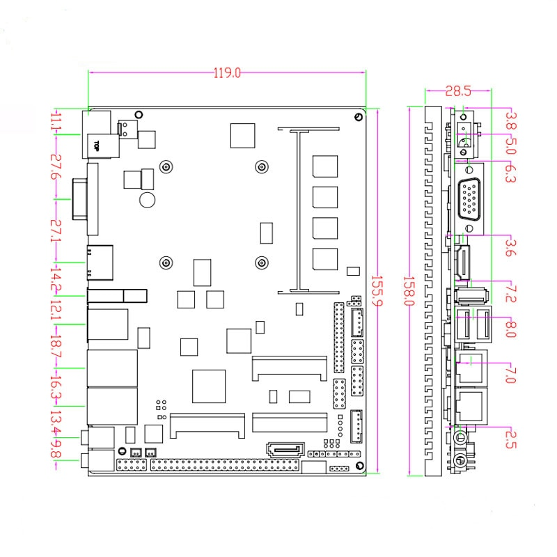 Fanless Intel J1900 Quad Core Processor ITX Motherboard Dual LAN Mainboard Mini PCIE WIFI mSATA SATA industrial motherboard enlarge
