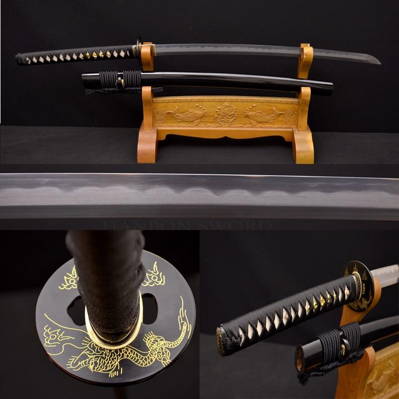 Espada japonesa de samurái hecha a mano ko-katana 1095 y arcilla de acero de Damasco cuchillo de práctica de hoja de KOBUSE afilada