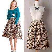 women vintage satin leopard print pleated skirt autumn winter high waist a line skirts highly elastic tutu midi skirt