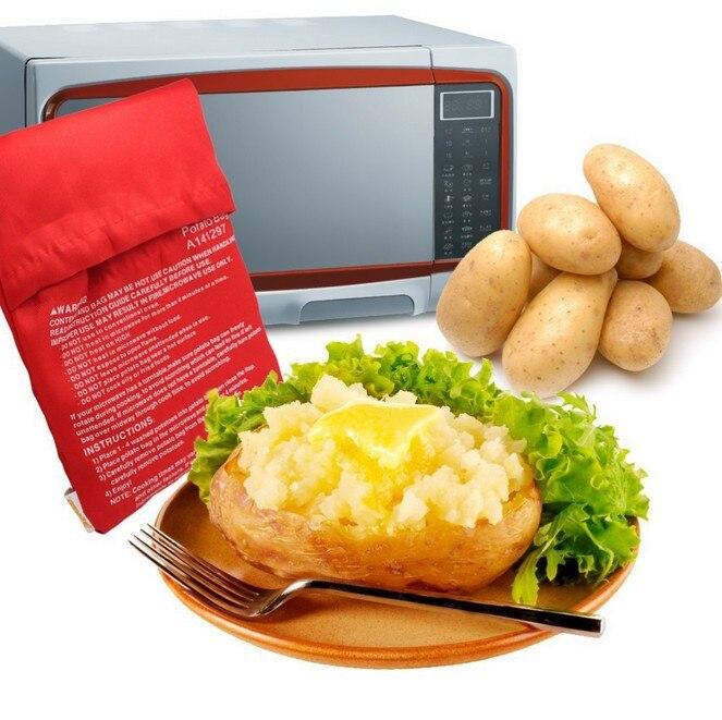 1 ud. Nuevo Rojo Bolsa para cocinar patatas al horno, microondas, cocinar patatas rápidamente (cocina 4 patatas a la vez)
