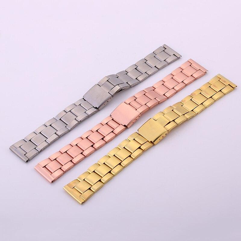 Correa de reloj de 20mm de oro, plata, oro rosa, acero inoxidable para hombres y mujeres, correa de reloj, accesorios de pulsera, correas de reloj