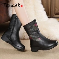 autumn and winter europe new mother shoes old and middle aged flat bottomed wedge heel mid sleeve boots leather warm martin boot