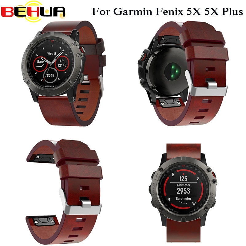 Leather Easy fit Watch Strap quick Release Bracelet Belt 26MM For Garmin Fenix 3/ Fenix 5X 5X Plus Smart Watch band wristband