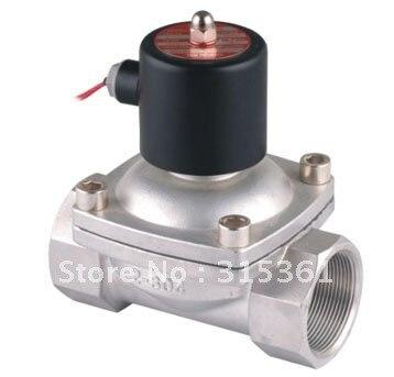 """Envío gratis 2 unids/lote 2S500-50 2 """"50mm de acero inoxidable normalmente cerrado 2 VITON válvula de solenoide de ácido de aceite de AC220V"""