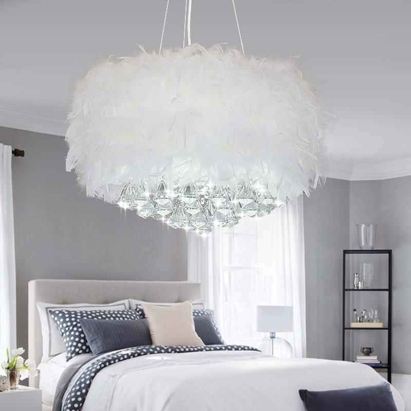 VCreative Arts minimalist Jane European bedroom ceiling chandelier feather The lamp crystal chandelier 110V-220V