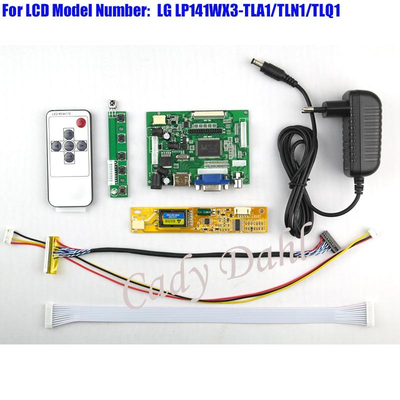 HDMI VGA 2AV Controller Board + Backlight Inverter + 30P Lvds Cable + Remote for LP141WX3-TLA1/TLN1/TLQ1 1280x800 1ch 6bit LCD