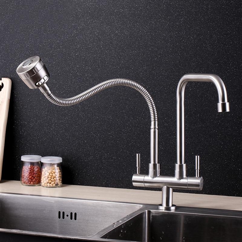 Grifo de fregadero de cocina con doble manija de acero inoxidable 304, grifo de superficie pulido gratis