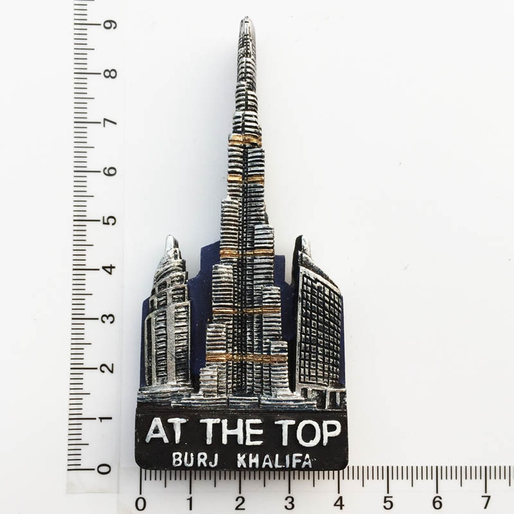 Imán de viaje de resina 3D babelemi Dubai Burj Khalifa para nevera en el recuerdo superior