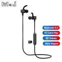 M & J Bluetooth 5,0 наушники, Металлические Магнитные беспроводные наушники, стереогарнитура TF карта, спортивные наушники, Hi-Fi, бас, свободные руки