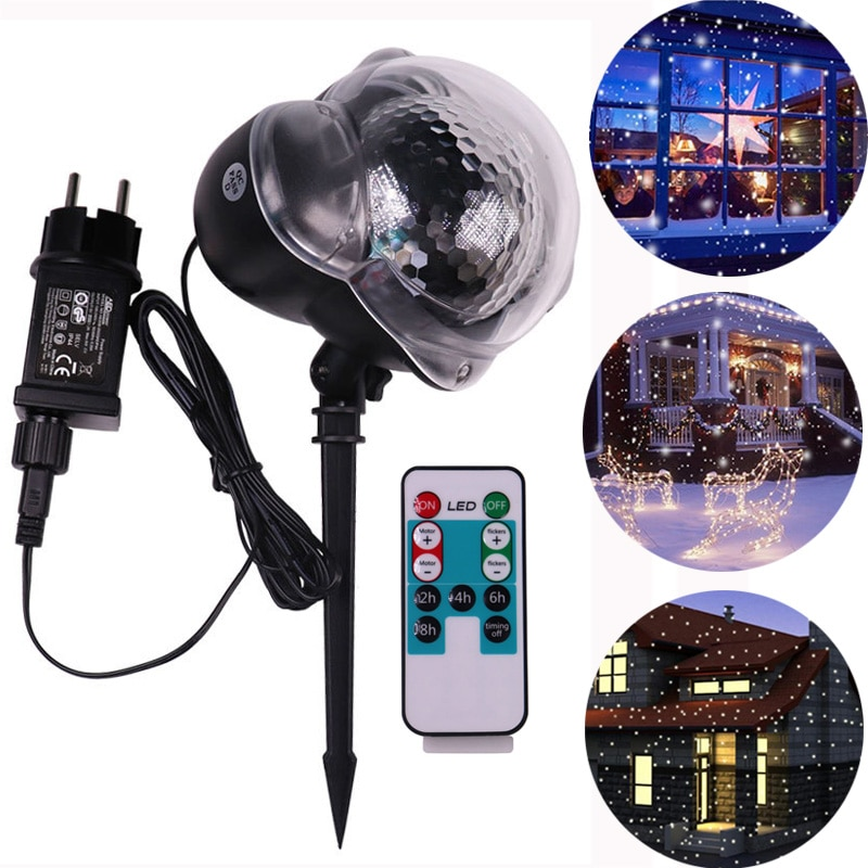 Christmas Snowflake Projector Lights Moving LED Snowfall Projection Lamp Outdoor Waterproof Landscape Decorative Party Lighting new mini snowfall projector christmas lights outdoor projector ip65 moving head laser snow led stage light for xmas party lights
