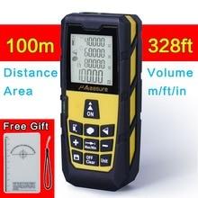 Jaune 328ft (100 m) Laser Distance mètre numérique Laser télémètre numérique Laser ruban à mesurer zone/volume M/Ft/in outil