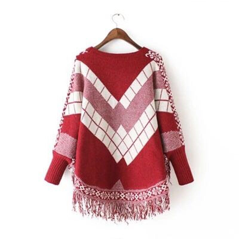 Poncho o-pescoço feitiço cor jacquard tassel manto suéter feminino batwing pullovers soletrar cor jacquard franjas malhas