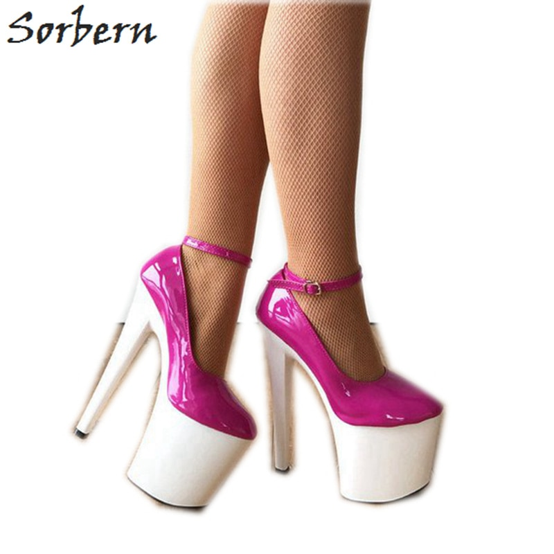 Zapatos de tacón Sorbern rosa muy alto, con correa para el tobillo, zapatos blancos, zapatos cómodos, tacones artísticos de 8 pulgadas, zapatos góticos Ultra altos para mujer