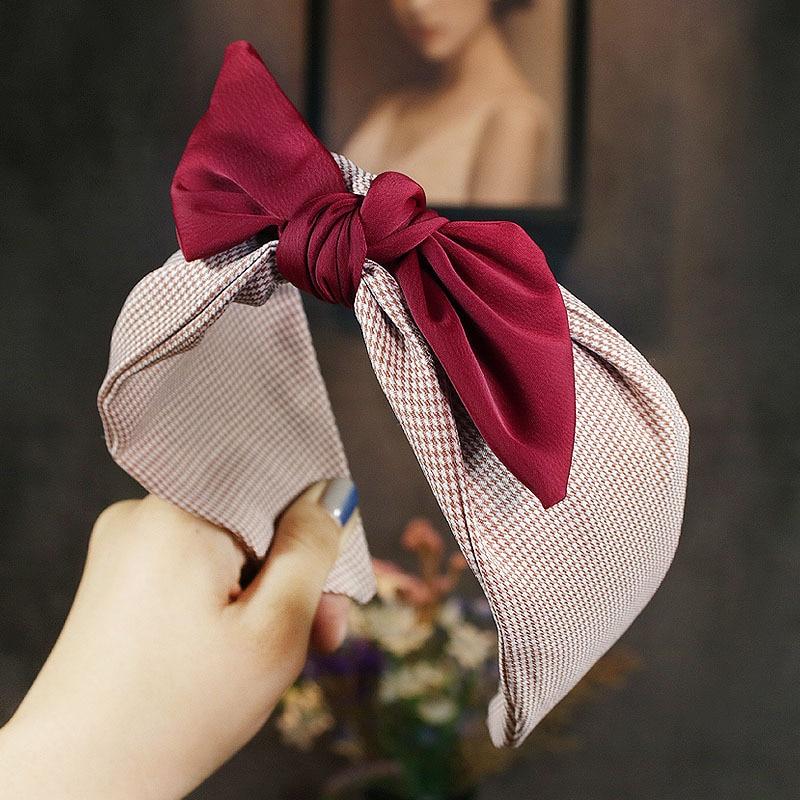 Cute Korean Women Girls Plaid Fabric Bow Knot Hairband Headband Bunny Rabbit Ears Hair Hoop Band Accessories