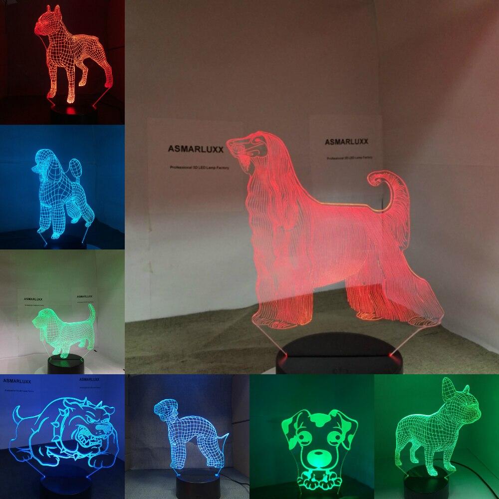 Perro 3D lámpara LED NightLight Bulldog perro Jack Russell Terrier perro afgano sabueso Basset perro Dobermann Labrador Retriever