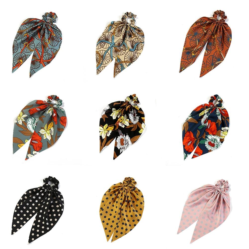 Accesorios para el cabello elásticos elegantes de lunares con estampado Floral, lazos para el cabello DIY, moño anudado, bufanda, listón para chicas y mujeres