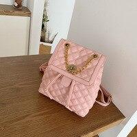 Designer Pu Leather Backpacks Women High Quality Ladies Shoulder Bag High Quality School Bags for Teenage Girls Chain Travel Bag