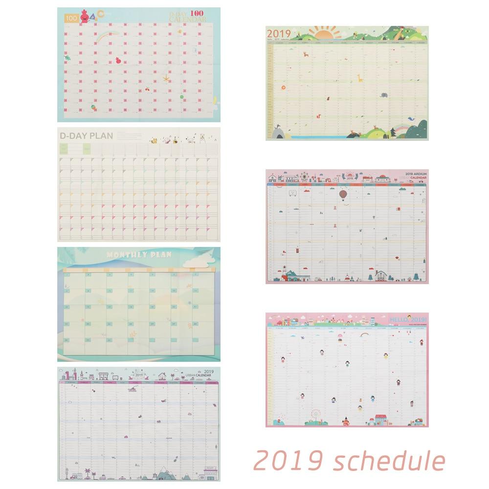 Novo planejador agenda agenda ano novo planejador 2019 ano 365 dias papel calendário de parede calendário anual