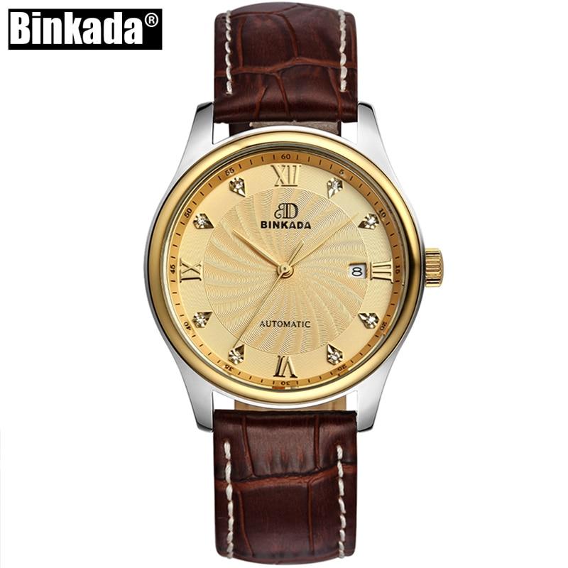 Золотые мужские механические часы бинкада Топ бренд автоматические часы для ролевых свиданий повседневные Роскошные мужские часы с криста...