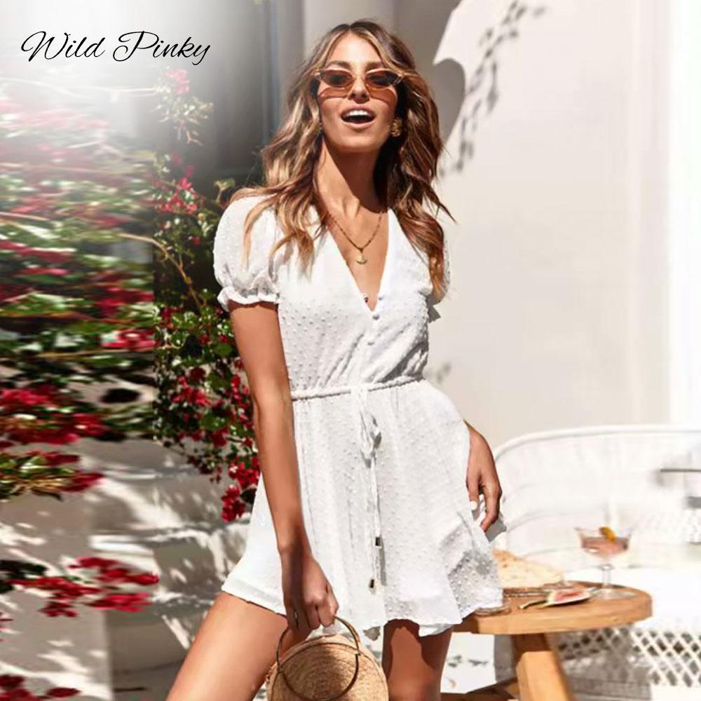 WildPinky Sexy v neck boho beach romper women short sleeve jumpsuit 2020 white jacquard playsuit summer macacao feminino